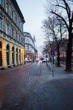 Sibiu miasta średniowieczna aleja przy zmierzchem Zdjęcia Royalty Free
