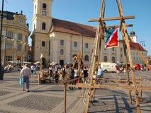 Sibiu middeleeuws festival stock foto