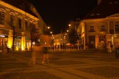 Sibiu - Nachtansicht Stockbilder