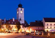 Sibiu - nachtmening Royalty-vrije Stock Afbeeldingen