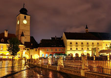 Sibiu Nachtmening Stock Fotografie