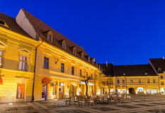 Sibiu, night in Large Square, Transylvania Stock Photography
