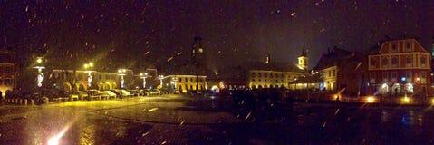 Sibiu by night. Snow in Hermannstadt Stock Photo