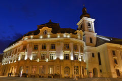 Sibiu - noc widok - Rumunia Zdjęcia Royalty Free