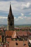 Sibiu - opinión superior de la catedral del evangelista Fotografía de archivo