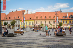 Sibiu, Piata Mare. Sibiu is one of the most important cultural centres of Romania and along with the city of Luxembourg, it was designated a European Capital of Royalty Free Stock Image