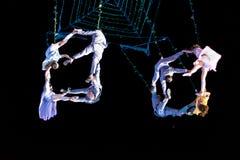 SIBIU, ROEMENIË - 17 JUNI 2016: Leden van de VOALA-Post die in het Grote Vierkant, tijdens Sibiu Internationaal Theater Festi pre Stock Foto