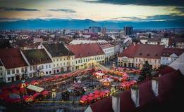 Sibiu, Roemenië, Kerstmismarkt stock foto