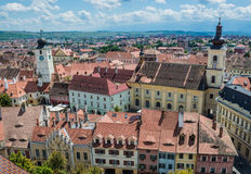 Sibiu in Roemenië Stock Foto's