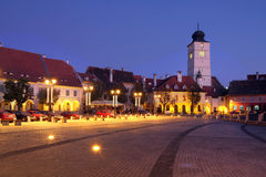 Sibiu, Romania. Night scene of the Small Square (Piata Mica) in the historical town of Sibiu, Romania Royalty Free Stock Photos