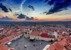 Sibiu Romania aerial view at sunset Royalty Free Stock Photo