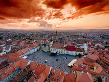 Sibiu Romania aerial view at sunset Stock Image
