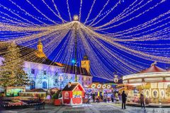 Sibiu, Romania. Christmas Market at twilight stock photography