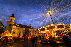 Sibiu Romania at Christmas time. Sibiu, one of the most beautiful cities in Romania, is very nice decorated during Christmas time Stock Images
