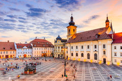 Sibiu, Romania. City Hall and Brukenthal palace in Transylvania stock images