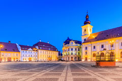 Sibiu, Romania. City Hall and Brukenthal palace in Transylvania Royalty Free Stock Photography