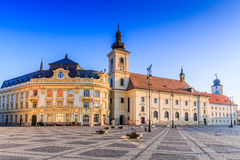 Sibiu, Romania. City Hall and Brukenthal palace in Transylvania stock photo