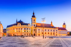 Sibiu, Romania,. Sibiu, Romania. City Hall and Brukenthal palace in Transylvania royalty free stock images