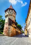 Sibiu, Romania : The famous Tower of the Carpenters - on the Cetatii street in a beautifull day. Sibiu, Transilvanya, Romania Royalty Free Stock Photography