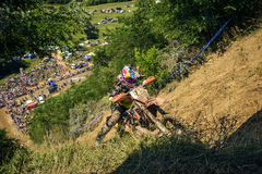 SIBIU, ROMANIA, JULY 16, 2016: A competitor close to Gusterita Hillclimb finish at Red Bull ROMANIACS Hard Enduro Rally Royalty Free Stock Photos