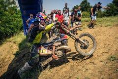 SIBIU, ROMANIA, JULY 16, 2016: A competitor at Gusterita Hillclimb finish in Red Bull ROMANIACS Hard Enduro Rally Stock Images