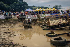 SIBIU, ROMANIA, JULY 16, 2016: A competitor at Red Bull ROMANIACS Hard Enduro Rally Royalty Free Stock Images
