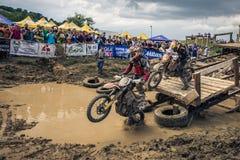 SIBIU, ROMANIA, JULY 16, 2016: Competitors at Red Bull ROMANIACS Hard Enduro Rally Royalty Free Stock Photo