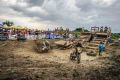 SIBIU, ROMANIA, JULY 16, 2016: Competitors at Red Bull ROMANIACS Hard Enduro Rally Royalty Free Stock Image