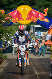 SIBIU, ROMANIA - JULY 18: A copetitor in Red Bull ROMANIACS Hard Enduro Rally with a KTM motorcycle. The hardest enduro rally in the world. July 18, 2015 in stock photos