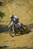 SIBIU, ROMANIA - JULY 18, 2015: Erik Ekelmans competing in Red Bull ROMANIACS Hard Enduro Rally with a Amatic Supplies motorcycle. Royalty Free Stock Photo