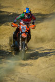 SIBIU, ROMANIA - JULY 18: Jesus Zavala competing in Red Bull ROMANIACS Hard Enduro Rally with a Avandaromotorsport motorcycle. The Royalty Free Stock Image