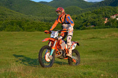 SIBIU, ROMANIA - JULY 18: Rienk Tuinstra competing in Red Bull ROMANIACS Hard Enduro Rally with a Husaberg 300 motorcycle. Royalty Free Stock Photography