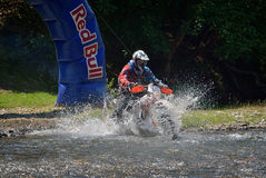 SIBIU, ROMANIA - JULY 16: Unknown competing in Red Bull ROMANIACS Hard Enduro Rally with a KTM 300  motorcycle. The hardest enduro rally in the world Stock Photo