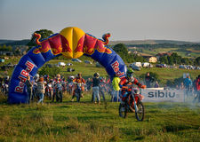 SIBIU, ROMANIA - JULY 16: Unknown competing in Red Bull ROMANIACS Hard Enduro Rally with a KTM 300  motorcycle. Stock Image