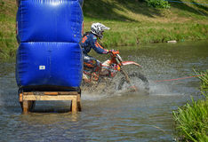 SIBIU, ROMANIA - JULY 16: Unknown competing in Red Bull ROMANIACS Hard Enduro Rally with a KTM 300  motorcycle. The hardest enduro. Rally in the world Royalty Free Stock Photography