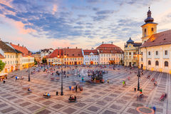Sibiu, Romania. Large Square Piata Mare with the City Hall and Brukenthal palace in Transylvania royalty free stock photo