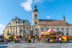 SIBIU, ROMANIA - 30 MARCH 2018: The opening of the Sibiu Easter Fair in Transylvania region, Romania Royalty Free Stock Images