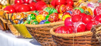 SIBIU, ROMANIA - 30 MARCH 2018: Traditional Easter eggs at the opening of the Sibiu Easter Fair in Transylvania region Stock Image