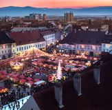 Traditional Christmas market in the historic center of Sibiu, Romania stock photo