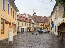 Avram Lancu street near the Large Square in Sibiu city in Romania. Sibiu, Romania, October 07, 2017 : Avram Lancu street near the Large Square in Sibiu city in Stock Photos