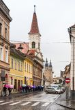 Mitropoliei street in a rainy day in Sibiu city in Romania. Sibiu, Romania, October 07, 2017 : Mitropoliei street in a rainy day in Sibiu city in Romania Stock Photo