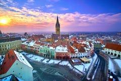 Sibiu Romania Transilvania at Sunset Royalty Free Stock Photo