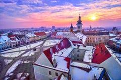 Sibiu Romania Transilvania at Sunset Stock Images