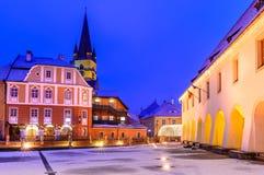 Sibiu, Romania. Sibiu, Transylvania. Evangelical Cathedral, dominates Liar's Bridge connecting Small Square with Huet Square, medieval Saxon city of Sibiu Stock Image