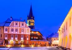 Sibiu, Romania. Sibiu, Transylvania. Evangelical Cathedral, dominates Liar's Bridge connecting Small Square with Huet Square, medieval Saxon city of Sibiu Stock Photos