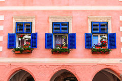 Sibiu,Romania. Windows with flowers in the historical center Stock Photography