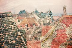 Sibiu roofs spectacle as vintage postcard Royalty Free Stock Photography