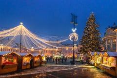 Sibiu, Roumanie - 27 novembre 2017 : Marché de Noël à Sibiu Photo stock