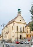 Sibiu Rumänien: Den kyrkliga Ursulineloren (Biserica Ursulinelor) Arkivbild