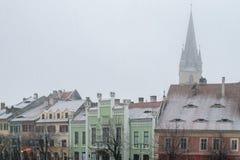 Sibiu, Rumänien - 27. November 2017: Erster Schnee in Sibiu, Rumänien, Lizenzfreie Stockbilder